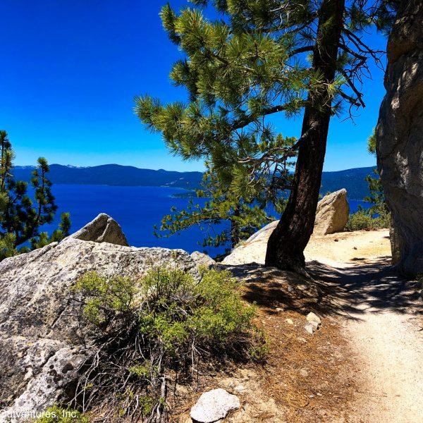 Mountain biking the Flume Trail, Lake Tahoe, Nevada